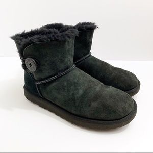 UGG Bailey One Button Short Black Boots, Size 9